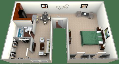 Floor Plan  Floorplan for Studio 426sf, at Kenilworth at Charles Apartments, Maryland, 21204