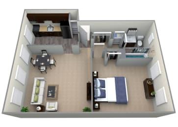 Floor Plan  Floorplan for 1 bed 1 bath 677sfat Mount Ridge Apartments, 201 South Symington Avenue , Baltimore