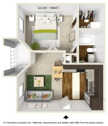 Emerald Falls Floor Plan at The Falls Apartments in Raleigh NC