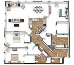 Three Bedroom Flat Floor Plan at The Lofts at Shillito Place, Cincinnati, OH, 45202