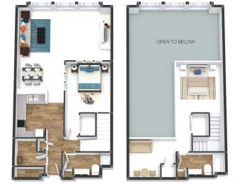 Two Bedroom Townhome Floor Plan at The Lofts at Shillito Place, Cincinnati, Ohio