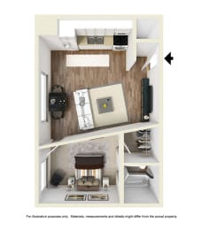 one bedroom floor plan l Academy Lane Apartments in Davis CA
