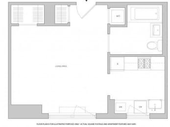 Floor Plan  Studio 1 Floorplan at The Aldyn