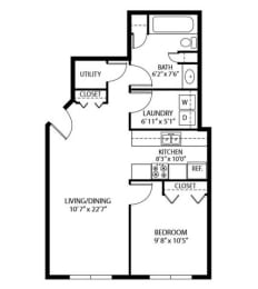 Floor Plan  Heritage Place Apartments 55+ Community in Rogers, MN 1 Bedroom 1 Bathroom