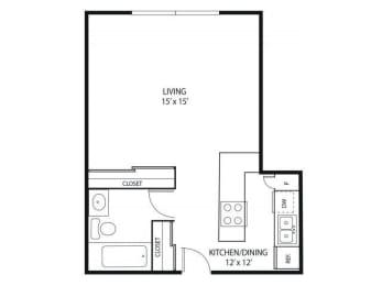 Floor Plan  Minnehaha Manor Apartments in Oakdale, MN Studio