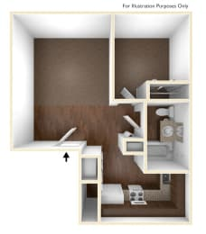 One Bedroom Apartment Floor Plan Sycamore Place Apartments