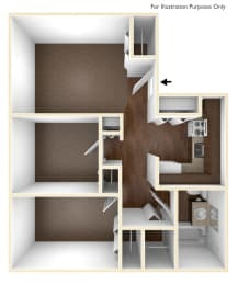 Two Bedroom Apartment Floor Plan Sycamore Place Apartments