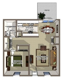The Berkshire Floor Plan at South Square Townhomes, Durham