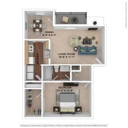 The Ashe Floor Plan at Lake Johnson Mews, Raleigh, North Carolina