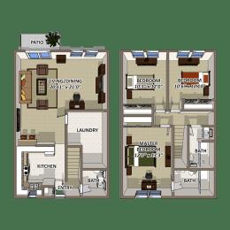 The Lake Floor Plan at Lakecrest, Greenville, SC