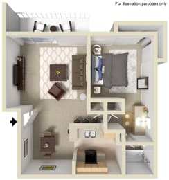Saratoga Floor Plan - 1 Bed 1 Bath, at The Madison Park Apartment Homes, California