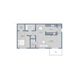 1 Bedroom/ 1 Bath Floor Plan at Sterling Beaufont Apartments, Richmond, 23225