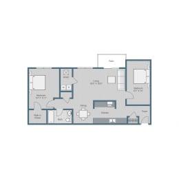 1 Bedroom/ 1 Bath w Den Floor Plan at Sterling Beaufont Apartments, Richmond, Virginia