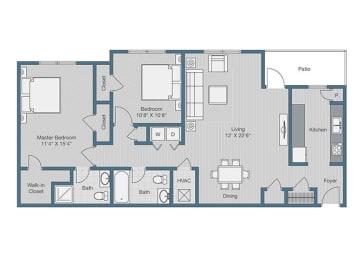2 Bedroom/ 2 Bath Floor Plan at Sterling Beaufont Apartments, Virginia