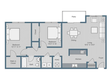 2 Bedroom/ 1 Bath Floor Plan at Sterling Beaufont Apartments, Richmond