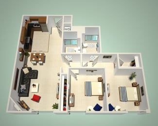 2 Bed - 2 Bath A Floor Plan at The Social, North Hollywood, 91601