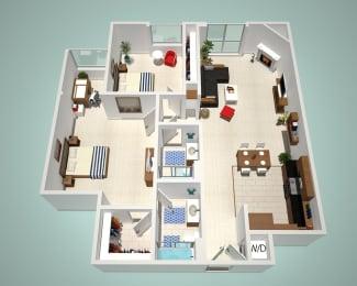 2 Bed - 2 Bath G Floor Plan at The Social, North Hollywood, CA, 91601