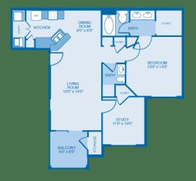 Colonial Floor Plan at Ethan Pointe Apartments, North Carolina