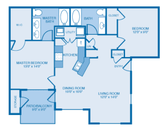 Mission Floor Plan at Ethan Pointe Apartments, Burlington, NC