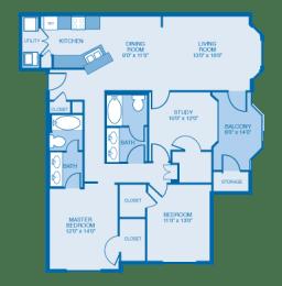Fairfield Floor Plan at Ethan Pointe Apartments, Burlington, 27215