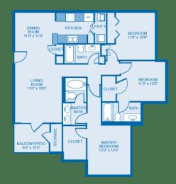 Georgian Floor plan at Ethan Pointe Apartments, Burlington