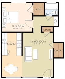 1 Bed 1 Bath Floor Plan at 720 North Apartments, Sunnyvale, CA