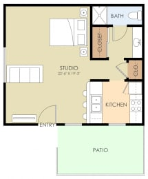 Studio Floor Plan at 720 North Apartments, Sunnyvale, CA, 94085