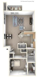 One Bedroom End Floor Plan at Arbor Lakes Apartments, Indiana, 46516