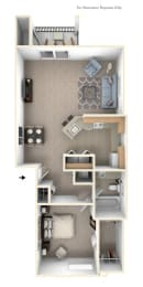 1 Bed 1 Bath One Bedroom End Floor Plan at Black Sand Apartment Homes, Lincoln, NE, 68504