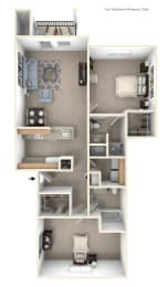 2 Bed 2 Bath Two Bedroom (Style II) Floor Plan at Black Sand Apartment Homes, Nebraska