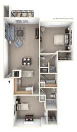 2 Bed 2 Bath Two Bedroom - Two Bathroom Floor Plan at Brentwood Park Apartments, La Vista, NE, 68128