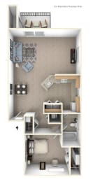 1 Bed 1 Bath One Bedroom End Floor Plan at Byron Lakes Apartments, Byron Center, 49315
