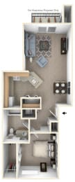 One Bedroom Floor Plan at Canal 2 Apartments, Lansing, Michigan