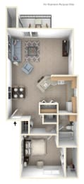 One Bedroom One Bath Floor Plan at Canal Club Apartments, Lansing