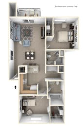 Two Bedroom Two Bath Floor Plan at Canal Club Apartments, Lansing, Michigan