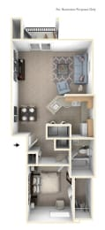 One Bedroom One Bath - End Floorplan at Colonial Pointe at Fairview Apartments, Nebraska