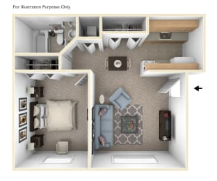 One Bedroom One Bath Floor Plan at Concord Place Apartments, Kalamazoo, 49009
