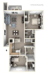 Two Bedroom, Two Bath Floor Plan at The Crossings Apartments, Grand Rapids, 49508