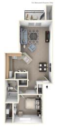 One Bedroom One Bath Floorplan at Dupont Lakes Apartments, Fort Wayne, IN