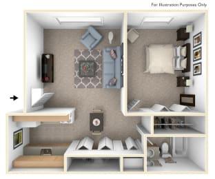 One Bedroom One Bath Floorplan at Fairlane Apartments, Springfield, Michigan