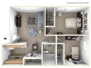 Two Bedroom One Bath Floorplan at Glen Oaks Apartments, Michigan, 49442