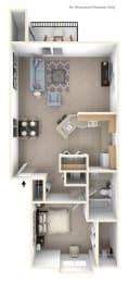 One Bedroom One Bath End Floorplan at Glenn Valley Apartments, Michigan, 49015