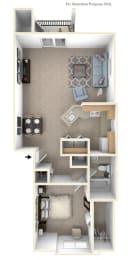 One Bedroom One Bath End Floorplan at Heatherwood Apartments, Grand Blanc, 48439