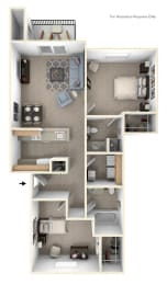 Two Bedroom Two Bath Floorplan at Heatherwood Apartments, Michigan, 48439