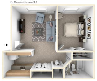 One Bedroom One Bath Floorplan at Hickory Village Apartments, Indiana