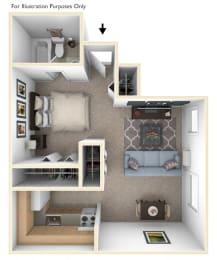 Studio Floorplan at Hickory Village Apartments, Mishawaka