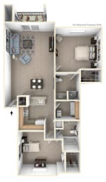 Traditional Two Bedroom Floorplan at The Highlands Apartments, Elkhart
