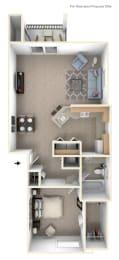 One Bedroom One Bath End Floorplan at Huntington Cove Apartments, Merrillville