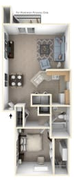 One Bedroom One Bath End Floorplan at Hurwich Farms Apartments, Indiana