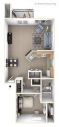 One Bedroom End Floor Plan at Indian Lakes Apartments, Mishawaka, Indiana